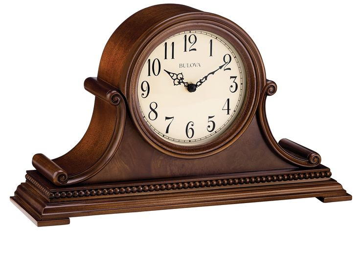 SUPER SALE! 15% OFF! Was $219.95 Now $186.95! Bring beauty and atmosphere to any shelf, table top or mantel with this handsome tambour clock by Bulova. It features a hardwood case finished in a rich brown cherry. A convenient night shut-off and volume control allow adjustments to suit your lifestyle. Soothing melodies of Bulova's Harmonic triple-chime movement plays …