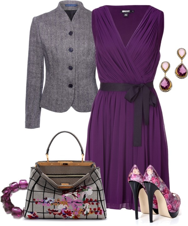 """Purple Dress & Floral Accessories"" by yasminasdream ❤ liked on Polyvore"