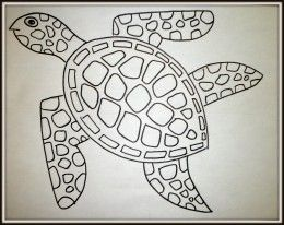 Art Lesson: How to draw a sea turtle step by step. The finished drawing of the sea turtle.
