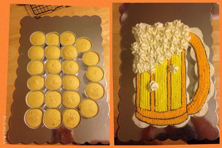 Beer mug cupcake cake