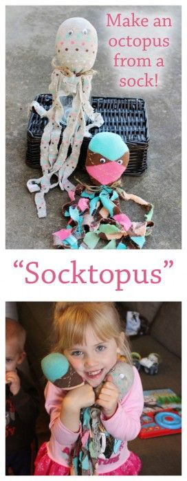DIY Socktopus All you need is a sock, some filling (cotton balls will work!)…
