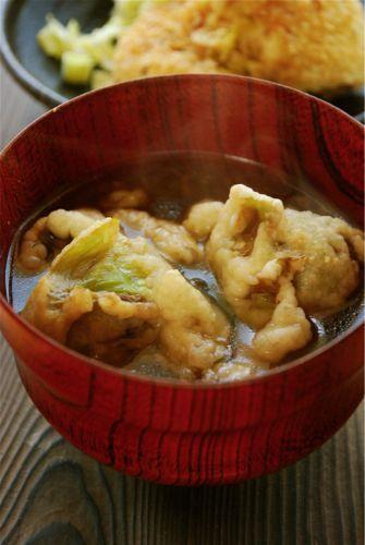 ふきのとうの天ぷら味噌汁