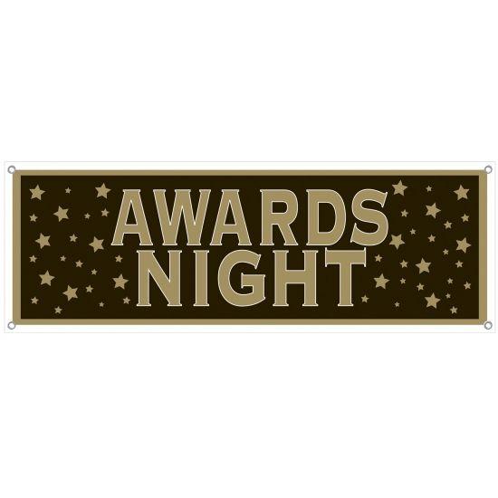 Awards night banner 150 x 53 cm. Een grote banner met de tekst: Awards night. Ideaal voor uw VIP of Hollywood thema feest! Formaat: ongeveer 150 x 53 cm. Geschikt voor binnen- en buitenshuis gebruik. Voorzien van 4 ophangogen.