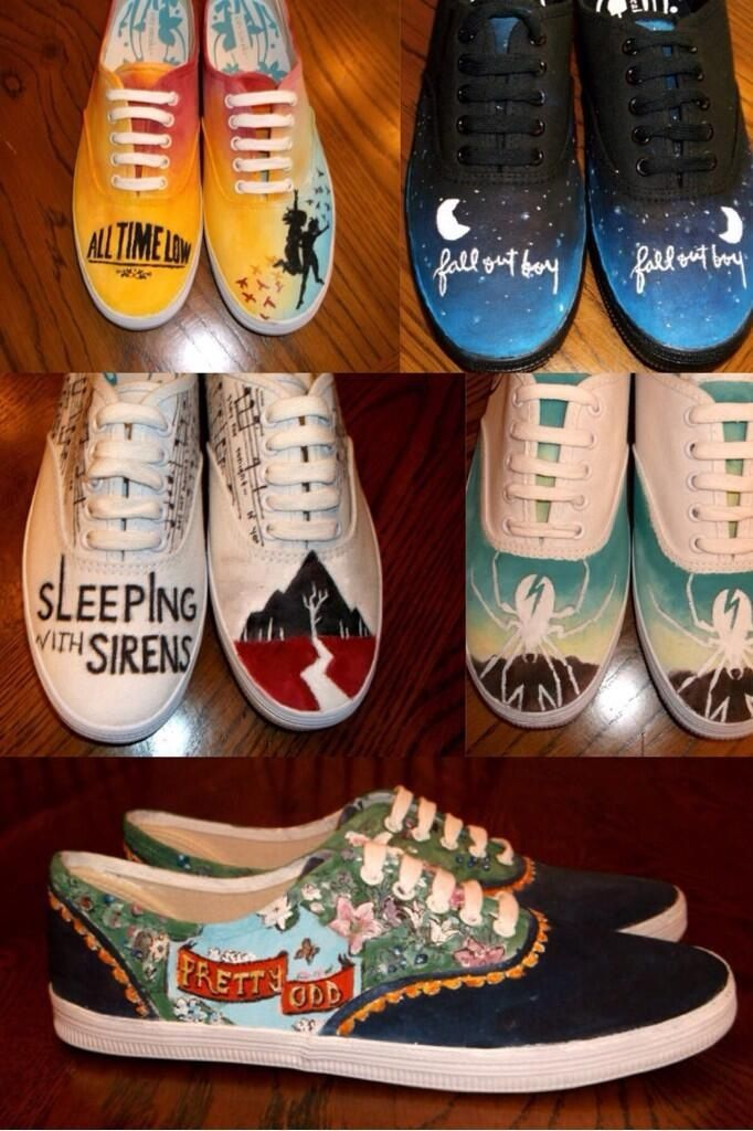All Time Low; Fall Out Boy; Sleeping With Sirens; My Chemical Romance; and Panic! At the Disco Shoes