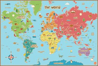 Kids World Dry Erase Map Wall Decal - contemporary - kids decor - by WallPops