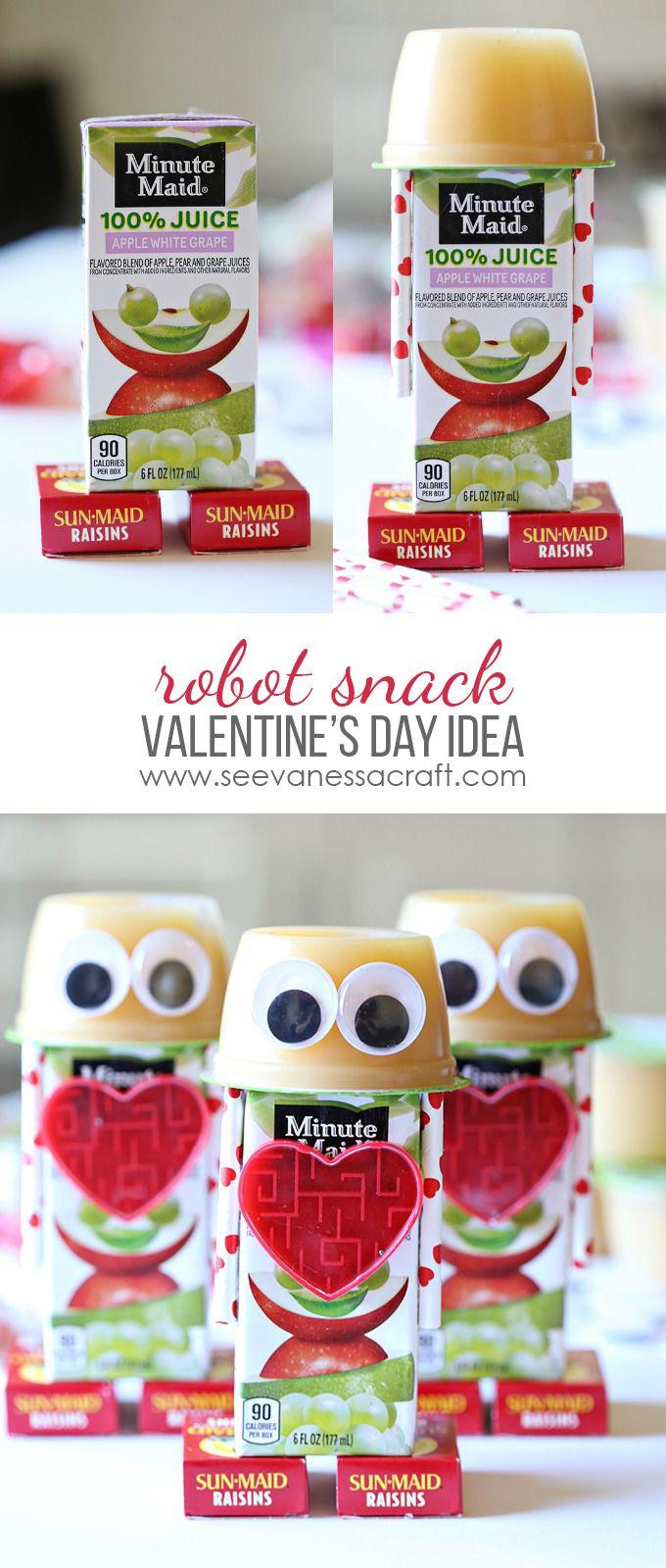 Robot Applesauce Valentine Snack - a great preschool or school snack idea!