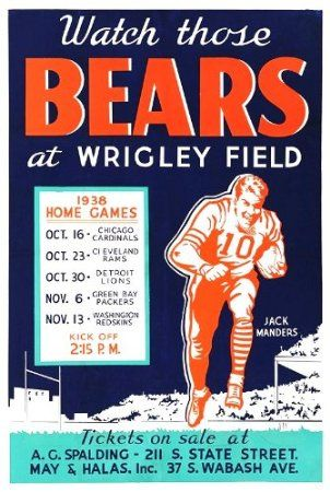 Amazon.com - Chicago Bears Wrigley Field Game Schedule Poster 1938 - Prints Posters