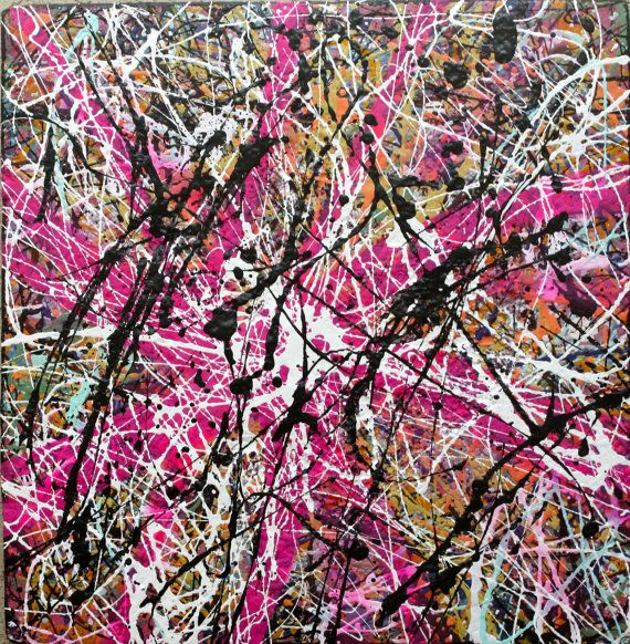 ORIGINAL abstract Jackson Pollock style medium contemporary street art urban pop art drip painting by Chris Riggs. $199.00, via Etsy.