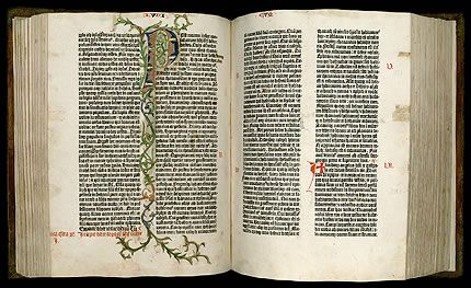 Gutenberg Bible one of five Harry Random Center U Tex Austin permanent collection