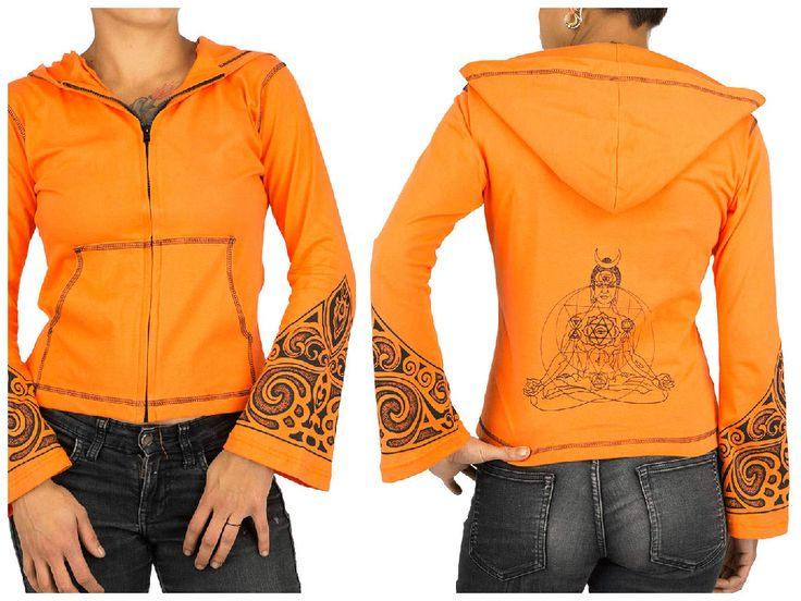 veste zippée, zipped jacket, capuche, hood, orange, tribal, manches évasées, Flared sleeves, bouddha, yoga clothes, vêtement de yoga, psywear, poches, pockets,