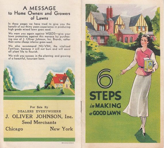 Six Steps in Making a Good Lawn Pamphlet J Oliver Johnson Seed Merchants Chicago