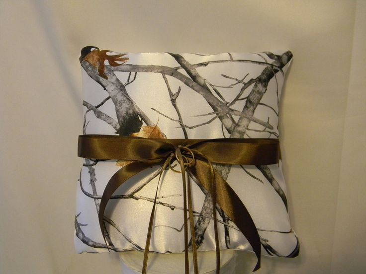 Wedding Ring Bearer Pillow custom made camo shown in White snow camo also pink camo and other camo fabrics available. $30.00, via Etsy.