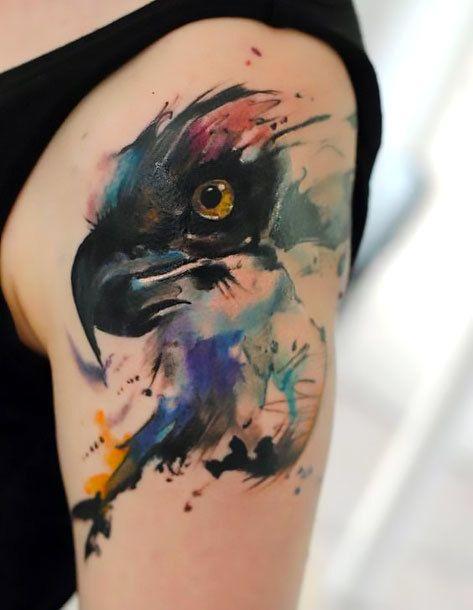 Watercolor Hawk Tattoo Idea