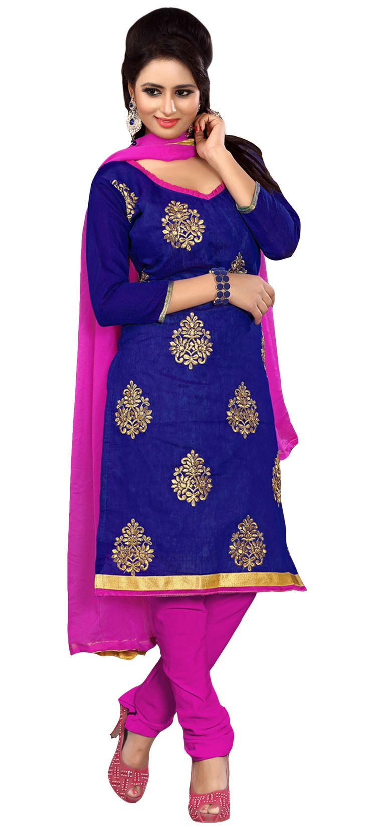 444261: Blue color family unstitched Cotton Salwar Kameez, Party Wear Salwar Kameez .
