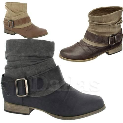 LADIES BIKER BOOTS WOMENS GIRLS COWBOY FLAT WESTERN ANKLE BOOTS SHOES SIZE 3-8