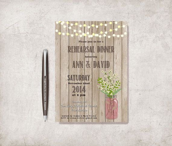 Rustic Wedding Rehearsal Dinner Invitation Printable Wedding