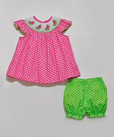 Love this Fuchsia Polka Dot Smocked Top & Lime Bloomers - Infant & Toddler by Fairies Kid on #zulily! #zulilyfinds