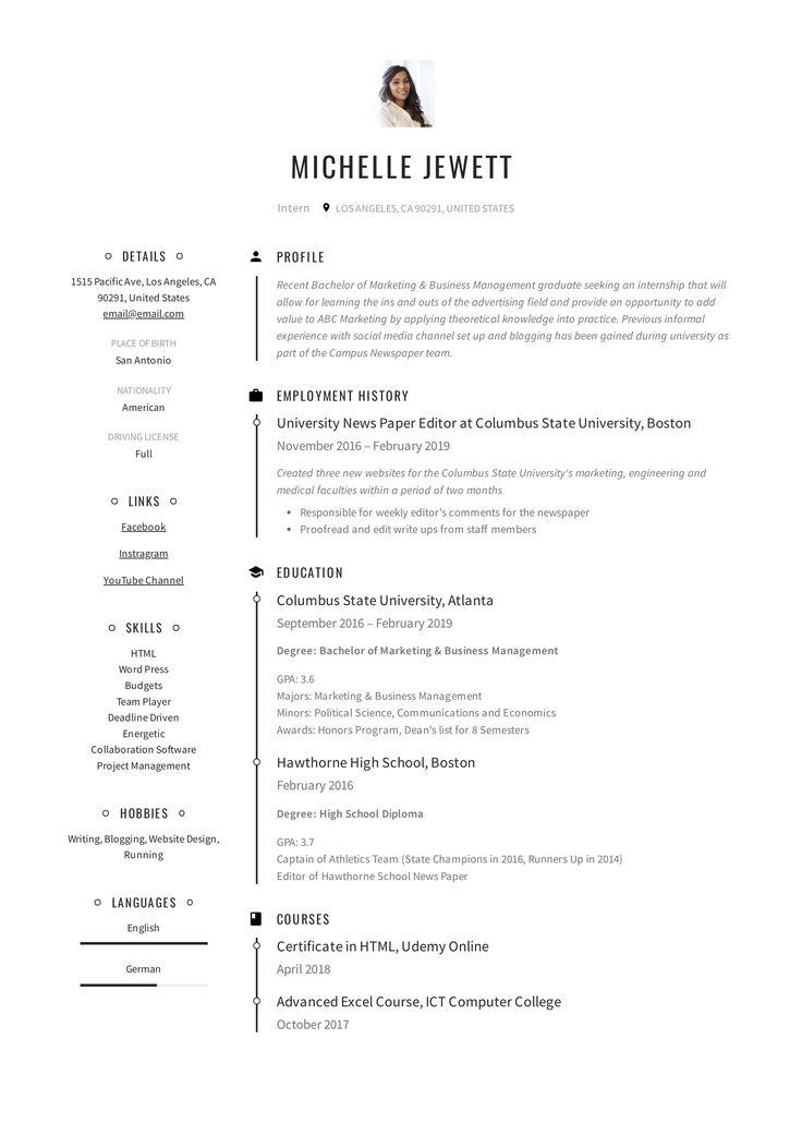Intern resume example medical resume student resume