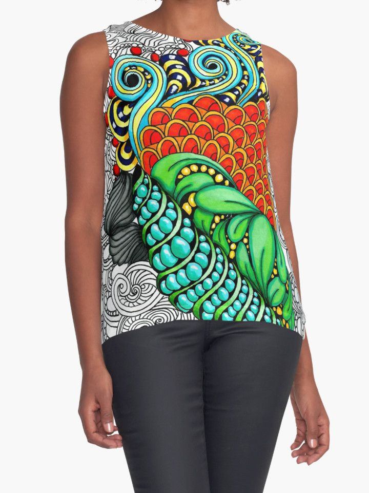 """""""Colorful zen doodle. """" Contrast Tanks by Maria-So   Redbubble"""