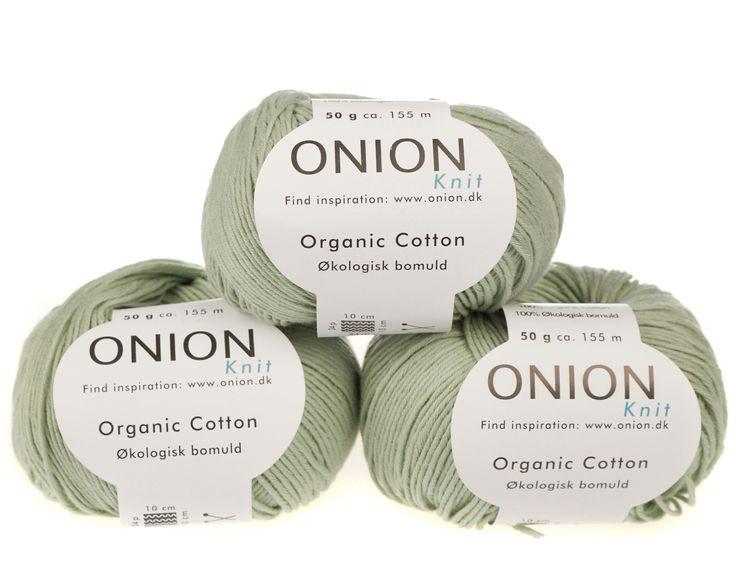 Lys grøn økologisk bomuldsgarn fra Onion - 35 kr. per 50 gram