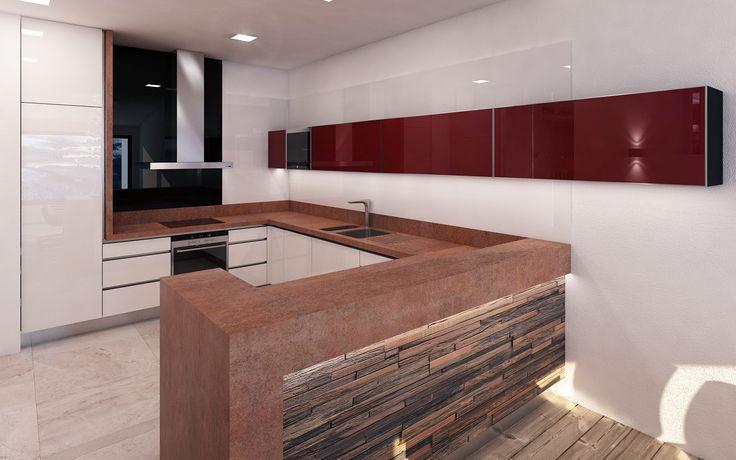 Kuchyně je navržena ve vyšším standardu použitých materiálů. Pracovní deska bude vyrobena z keramických dílců podlepených travertinem a dekorem zkorodovaného kovu bude navazovat na materiál točitého schodiště a konferenčního stolu.
