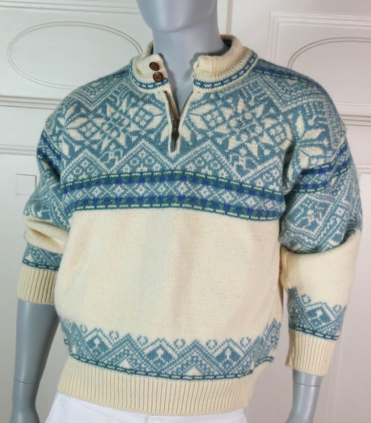 Norwegian Vintage Wool Sweater, Dale of Norway Cream Turquoise Green Sweater,  Wool Jumper, Scandinavian Winter Sweater: Size L 40-44 US/UK by YouLookAmazing on Etsy