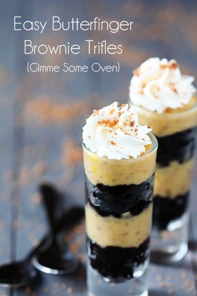 Easy Butterfinger Brownie Trifles {Gimme Some Oven} @Ali Velez Velez Velez Velez Ebright (Gimme Some Oven)