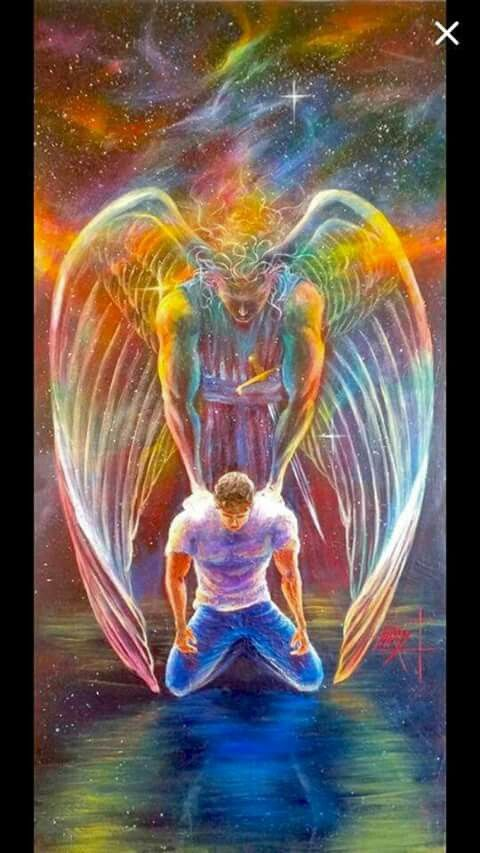 Guardian Angel ministering strength to man in prayer. Praise the Lord for His Help. Prophetic Art painting.
