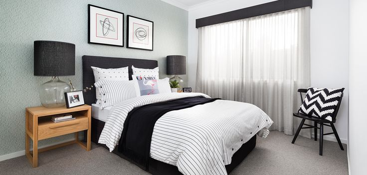 SECOND BEDROOM: Monochromatic palette is dominate in this space with subtle highlights of playful colour and texture. Introduce Stripes, Spots or repetitive shapes to your linen to keep these rooms sharp and stylish. Visit our Graphix Lookbook style here: http://www.metricon.com.au/get-inspired/lookbook/graphix
