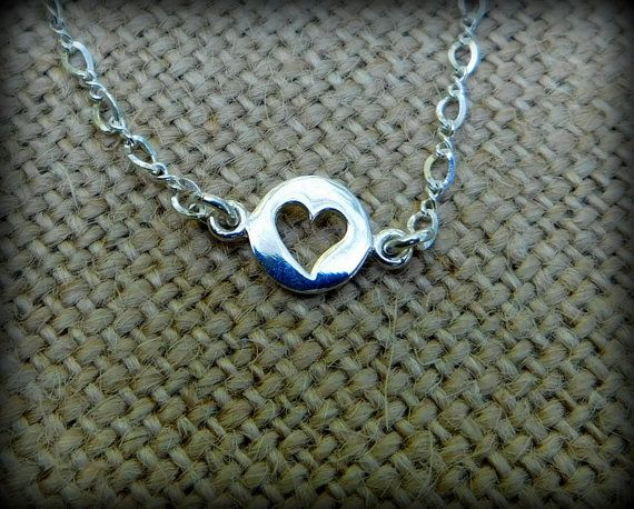 Sterling silver anklet  heart anklet heart by DesignedByMarilyn