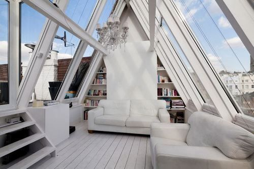 white atticParks Roads, Dreams, Portobello Road, Interiors Design, Living Room, Architecture, Small Spaces, Vaulted Ceilings, Glasses House