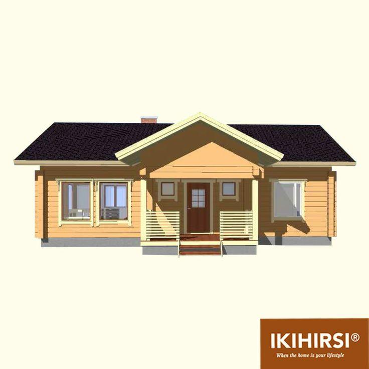 Входная группа. 3D-проекция. #деревянныйдом #Ikihirsi. Больше проектов одноэтажных деревянных домов на http://www.ikihirsirussia.ru/iki-houses/iki-proekty-1-etazh.html