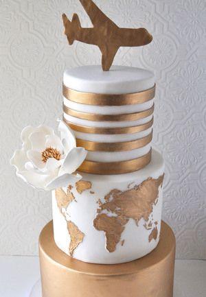Beautiful Travel Themed Wedding Cake