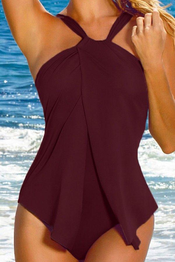 7d2b022f84 Dark Red Halter Ruffle Sexy One Piece Swimsuit  027421   Sexy One Piece  Swimsuits