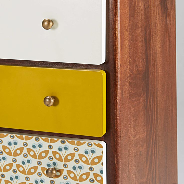 Vintage 5-drawer chest in multicoloured mango wood Lucette | Maisons du Monde