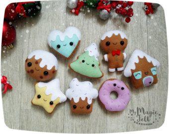 Kerst ornamenten peperkoek cookie vilt sieraad door MyMagicFelt