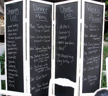 Love idea of double sided themes for living dining room division-Chalkboard Room Divider