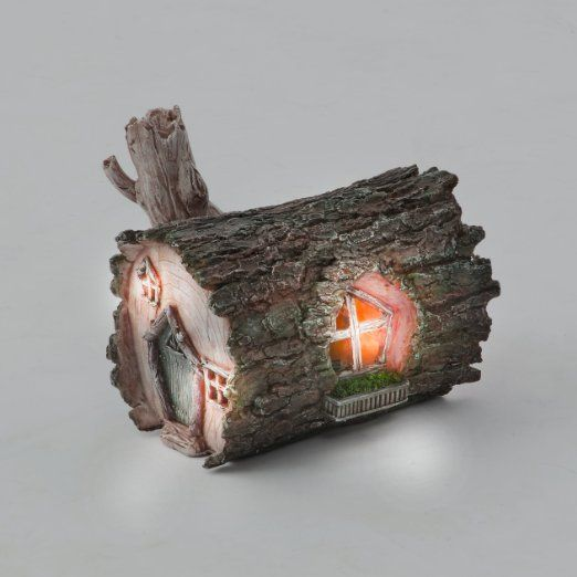 Log Fairy House - Solar Fairy House Lights Up At Dusk