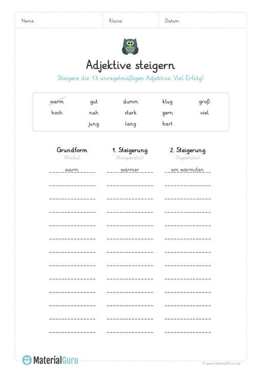 ein kostenloses arbeitsblatt zum thema adjektive auf dem die sch ler unregelm ige adjektive. Black Bedroom Furniture Sets. Home Design Ideas
