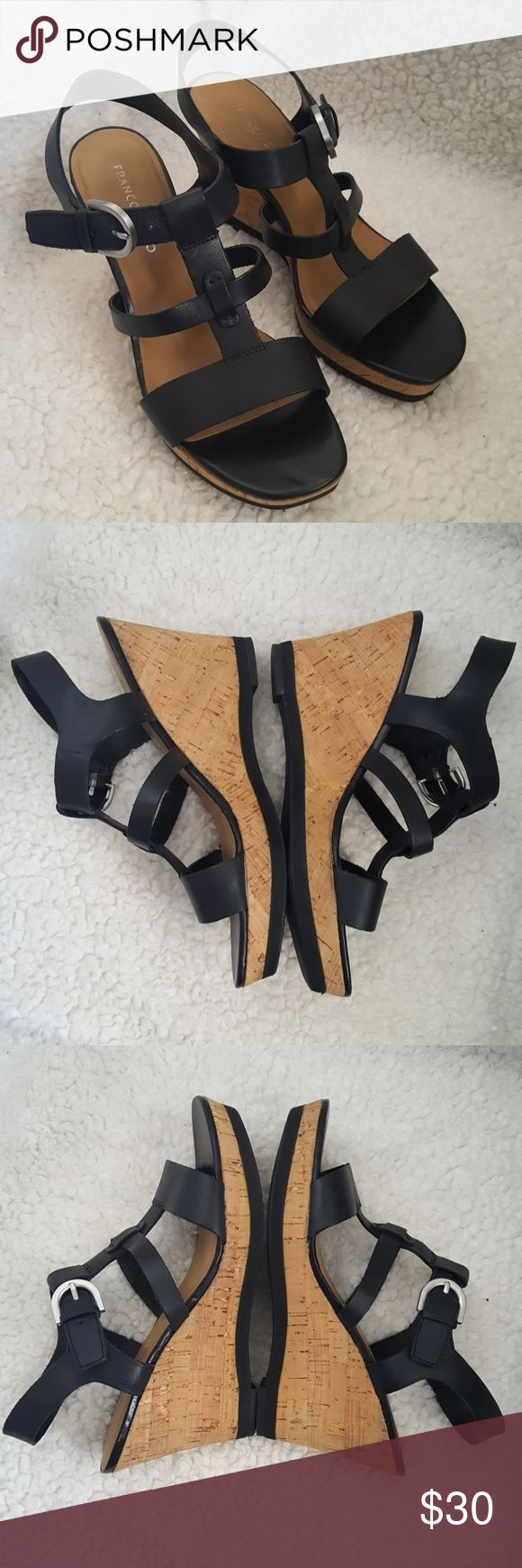 Corey Leather Wedge Sandals In Great condition, barely worn. Upper is leather and balance is man made material. Franco Sarto Shoes Wedges