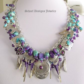 Turquoise & Amethyst southwestern charm necklace....these colors are so beautiful....