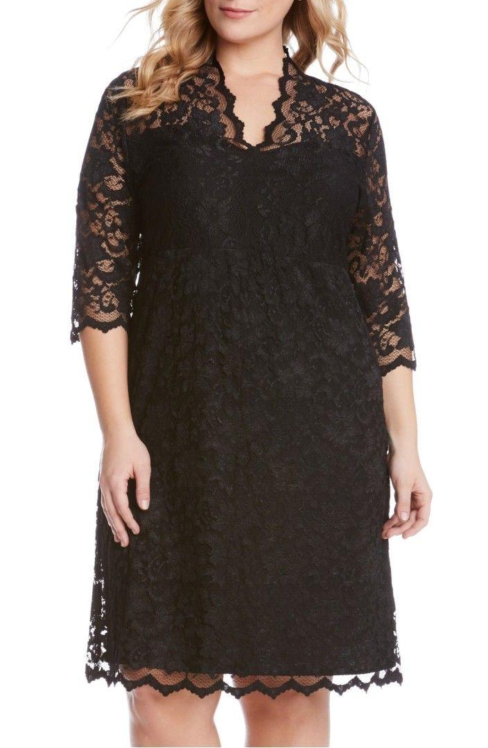 Main Image - Karen Kane Scalloped Stretch Lace Dress (Plus Size)