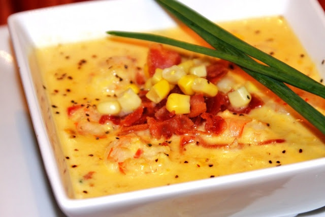 Shrimp and Corn Soup with Bacon_ I got this recipe passed down from a lady way down in Cocodrie, LA who used to make it for a restaurant there. Its super simple and the kind of thing where you just basically dump it all together.