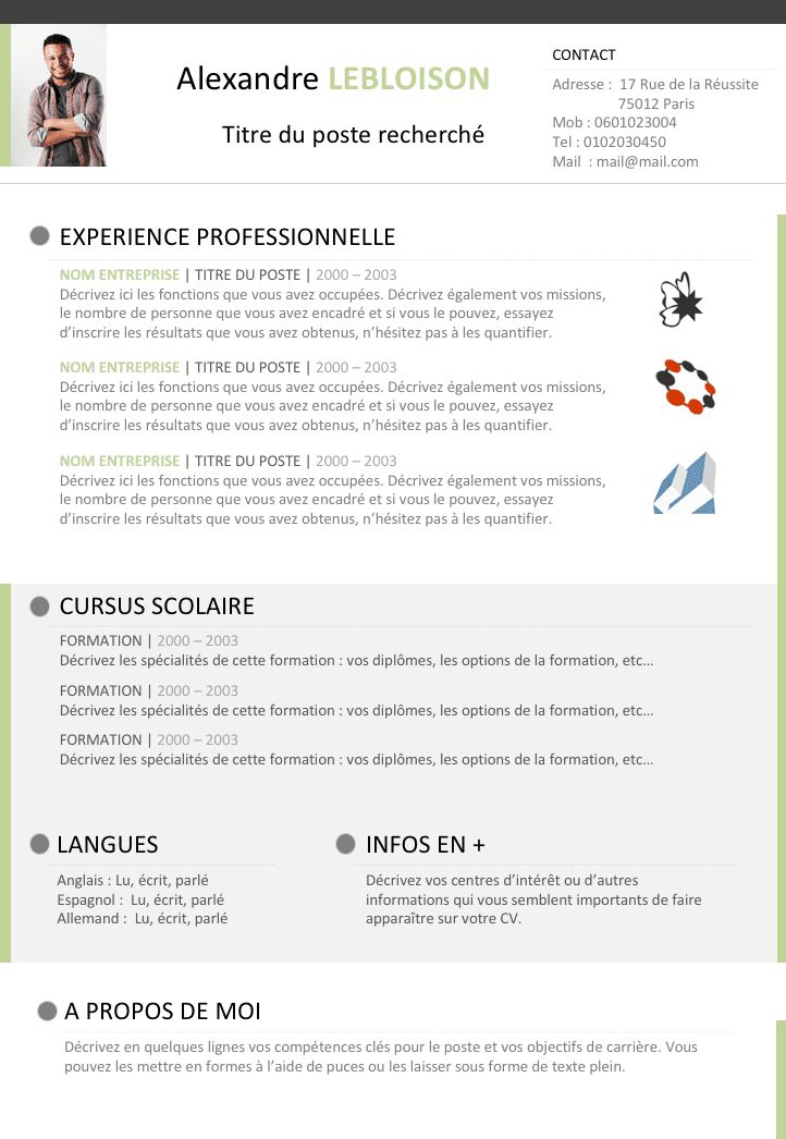 cv modele libre office