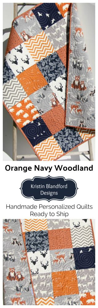 Woodland Baby Quilt, Toddler Bedding, Handmade Quilts from Texas, USA, Navy Blue Orange Grey Gray Boy Crib Bedding, Chevron Deer Bear Buck Stag Feathers Fox Owls Animals Gift for Baby or Toddler Childs Gift Monogrammed Embroidered Personalized Gift for Him by Kristin Blandford Designs #etsy #personalized #personalizedgift #babygift #woodlandnursery
