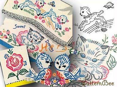 Restored vintage embroidery patterns! Love these!