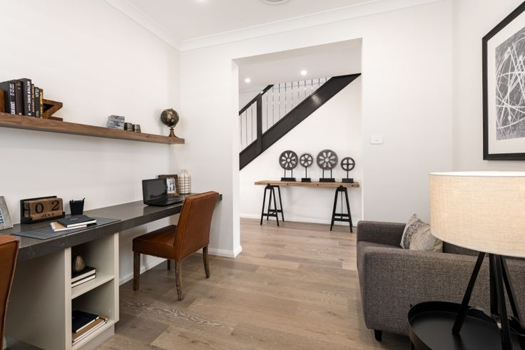 A Study Nook, a Home Office, a Reading Room... the possibilities are endless! View this #industrialdecor at the Saxonvale 40, Waterford County II http://www.mcdonaldjoneshomes.com.au/display-home-locations/waterford-county  #mcdonaldjones #mcdonaldjoneshomes #homeofficeideas