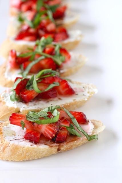 Strawberry bruschetta with goat cheese and balsamic vinegar.