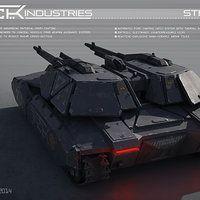 Repair garage enviros for a futuristic tank battle game.