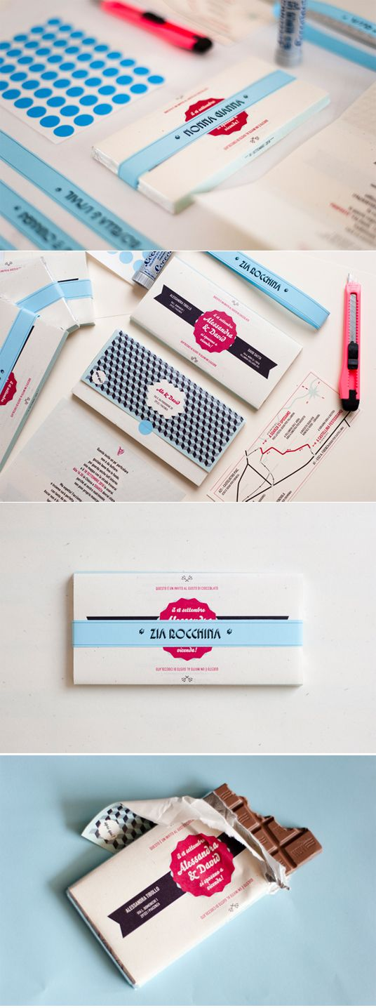 bars of chocolate as a wedding invitation? never heard of that. but maybe as a wedding favor?